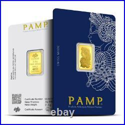 1 2 1/2 Gram. 9999 Fine Gold Bar = PAMP Suisse Sealed on a Card BU