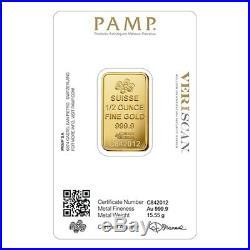 1/2 oz Gold Bar PAMP Suisse Lady Fortuna Veriscan. 9999 Fine (In Assay)