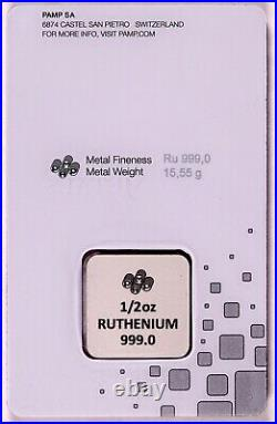 1/2 oz Ruthenium PAMP SUISSE Bar in Assay Card VERY LIMITED MINTAGE 500