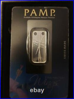 1/5 Ounce Silver Pamp Suisse Limited Edition Wings Dragonfly Pendant