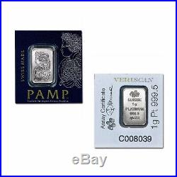 1 G Pamp Suisse. 9995 Platinum Lady Fortuna Bar +10 Piece Alaskan Pure Gold Nugs