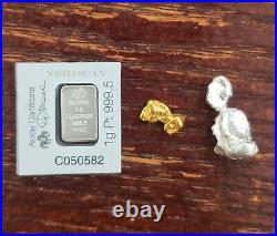 1 Gold Nugget! , 1 Gram of Platinum and Huge Silver Nugget