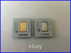 1 Gold and 1 Platinum bars. Mint sealed and numbered. Pamp veriscan ingots