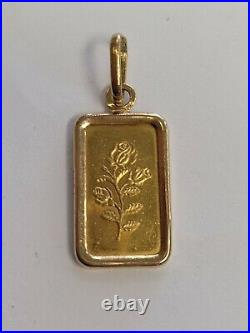 1 Gram. 999 Gold Pamp Suisse Bar & 21k Gold Ornate Bezel Pendant