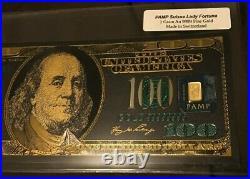 1 Gram 9999 Fine PAMP Suisse Gold Bar & 5 Gram 999 Silver Bar in Souvenir Notes