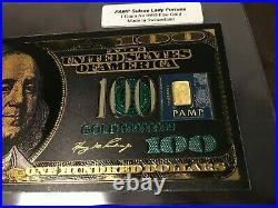 1 Gram Gold Bar PAMP Suisse Fortuna in Gold Foil Souvenir Novelty Note GEM NEW