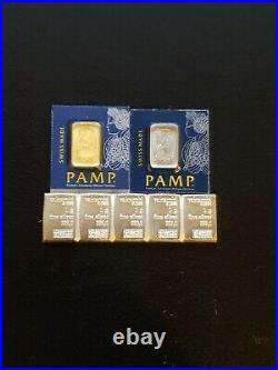 1 Gram Gold Bar, Platinum and FIVE (5) Silver (Pamp Suisse AND Valcambi)