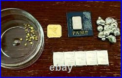 1 Gram Gold Holy Land! Gold Nuggets, Platinum! Silver Shot and Silver Combi-Bars