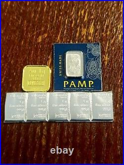 1 Gram Gold! , Platinum and FIVE (5) Silver (Pamp Suisse AND Valcambi)