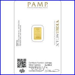 1 Gram Pamp Suisse. 999 Lady Fortuna Bar Pendant 16MMX9.4MM Encased in 14k Gold
