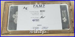 1 Kilo (32.15 Troy Ounces). 999 Fine Silver Bar Pamp Suisse Fortuna withCOA