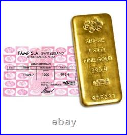 1 Kilo Pamp Suisse 999.9 24k Gold Bullion Bar With Assay Cert 100% Genuine