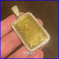 1 OZ Gold PAMP Suisse Bar Pendant with 3 CT Diamonds 24K Gold Bar