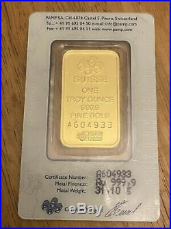 1 Ounce Fine Gold Bar PAMP Suisse Lady Fortuna Sealed Assayer Card Certified