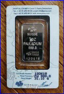 1 Ounce Palladium Bar PAMP Suisse (In Assay)