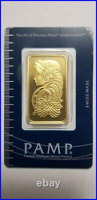 1 Ounce Pamp Suisse. 9999 Fine Gold Bar Lady Fortuna 1oz