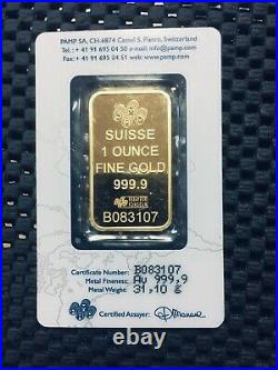 1 Ounce Pamp Suisse. 9999 Fine Gold Bar Lady Fortuna 1oz. With Veriscan