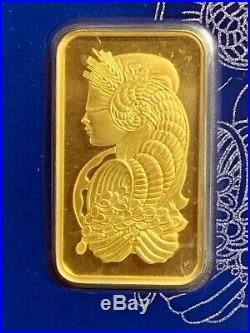 1 Ounce Pamp Suisse. 9999 Fine Gold Bar Lady Fortuna, Sealed. Veriscan