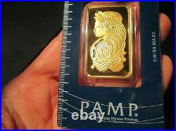 1 Ounce Pamp Suisse Lady Fortuna. 9999 Fine Gold Bar 1oz. With Veriscan