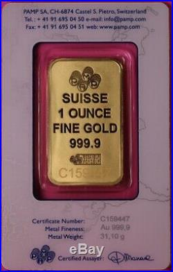 1 Oz Gold Pamp Suisse Bar In Assy Card