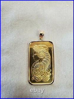 1 Oz Pamp Suisse. 999 Lady Fortuna Bar Pendant Encased in 14k Gold