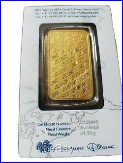 1 Oz Pamp Suisse Gold Bar. 9999 Fine Cert # C128440