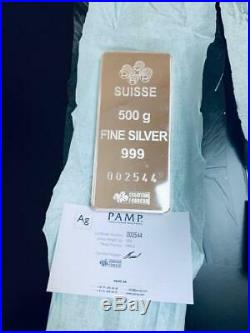 (1) Pamp Suisse 500g Gram (1/2 Kilo) Silver Bar 999.0 With Assay Card