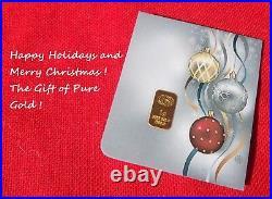 1 gram GOLD CGA BULLION HAPPY HOLIDAY Gold Bar (In Assay) IDEAL STOCKING STUFFER