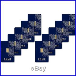 1 gram Gold Bar PAMP Suisse Fortuna 999.9 Fine in Assay Ten 10 Bars