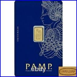 1 gram Gold Bar PAMP Suisse Lady Fortuna Veriscan. 9999 Fine in Assay Card #B999