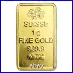 1 gram Gold Bar PAMP Suisse Lady Fortuna Veriscan (In Assay) SKU #82249