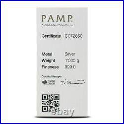 1 kilo (32.15 oz.) PAMP Suisse. 999 Silver Cast Bar Stamped Serial Number, Assay