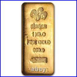1 kilo Gold Bar PAMP Suisse SKU #73950