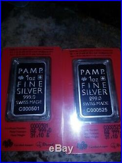 1 oz. 999 Silver TRUE HAPPINESS Pamp Suisse Bar Mint BOX consecutive SN RARE