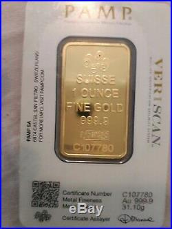 1 oz. 9999 Fine 24 Karat Gold Bar PAMP. Mint Unopened with Assay Certificate