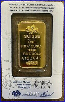1 oz. Fine Gold Bar. 9995 PAMP Suisse Lady Fortuna in Sealed Assay