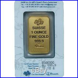 1 oz Gold Bar PAMP Suisse (In Assay) NO RESERVE