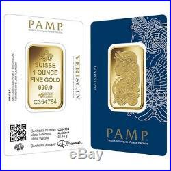 1 oz Gold Bar PAMP Suisse Lady Fortuna Veriscan. 9999 Fine (In Assay)