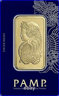 1 oz Gold Bar PAMP Suisse Lady Fortuna Veriscan (In Assay) 999.9 Fine