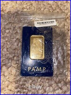 1 oz Gold Bar PAMP Suisse Lady Fortuna Veriscan (In Assay). 9999 Fine