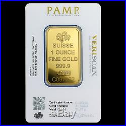 1 oz Gold Bar PAMP Suisse Lady Fortuna Veriscan (In Assay) SKU #82236