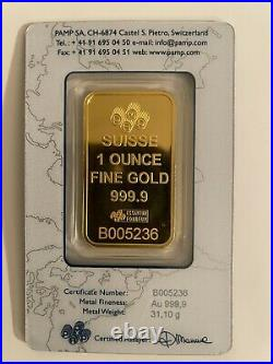 1 oz Gold Bar PAMP Suisse Liberty Stars and Stripes (In Assay) SKU #B005236