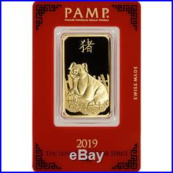 1 oz. Gold Bar PAMP Suisse Lunar Year of the Pig 999.9 Fine in Assay