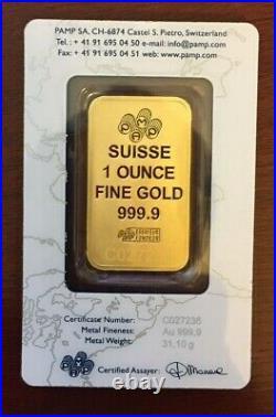 1 oz. Gold Bar-PAMP Suisse Suisse Design 999.9 Fine in Sealed Assay