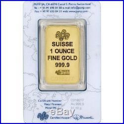 1 oz. Gold Bar PAMP Suisse Suisse Design 999.9 Fine in Sealed Assay