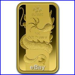 1 oz Gold Bar PAMP Suisse Year of the Dragon (In Assay) SKU #69642