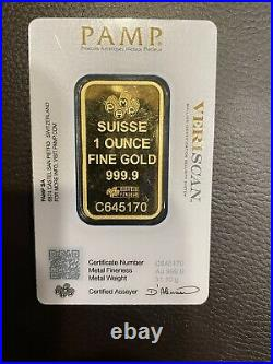 1 oz Gold Bar Swiss PAMP Suisse Fine Gold 999.9 Certified Assayer