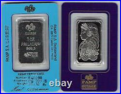1 oz PALLADIUM Bar. 9995 Fine With Pamp Suisse Assay Certificate