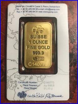 1 oz PAMP Gold Suisse Bar. 9999 Fine Sealed In Assay