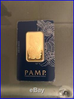 1 oz PAMP Gold Suisse Bar. 9999 Fine Sealed In Assay Lady Fortuna with Veriscan